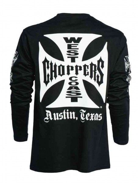 West Coast Choppers - WCC OG Cross Austin/Texas Longsleeve - Schwarz Rückansicht