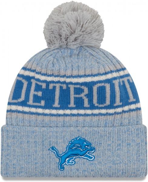 New Era - NFL Detroit Lions 2018 Sport Knit Bobble Beanie - Grau-Blau ansicht vorderseite