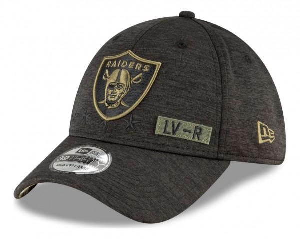 New Era - NFL Las Vegas Raiders 2020 Salute to Service 39Thirty Stretch Cap - Schwarz Ansicht vorne schräg rechts