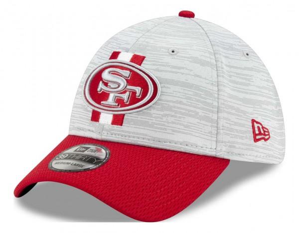 New Era - NFL San Francisco 49ers 20212 Training 39Thirty Stretch Cap - Grau-Rot Ansicht vorne schräg links