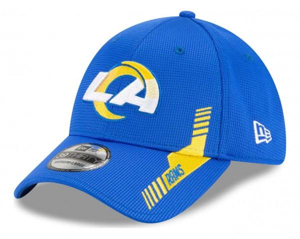New Era - NFL Los Angeles Rams 2021 Sideline Home 39Thirty Stretch Cap - Blau Ansicht vorne schräg links