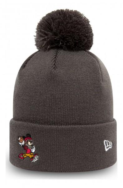 New Era - Disney Mickey Mouse Character Sport Kids Bobble Beanie - Grau Ansicht vorne schräg links