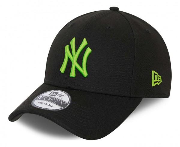New Era - MLB New York Yankees Neon Pack 9Forty Strapback Cap - Schwarz Ansicht vorne schräg links