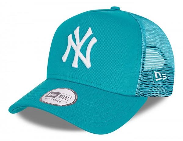 New Era - MLB New York Yankees Tonal Mesh Trucker Snapback Cap - Türkis Ansicht vorne schräg links