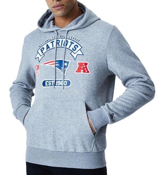 New Era - NFL New England Patriots Graphic PO Hoodie - Grau Vorderansicht