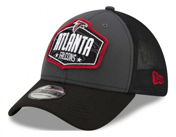 New Era - NFL Atlanta Falcons 2021 Draft 39Thirty Trucker Stretch Cap - Mehrfarbig Ansicht vorne schräg links