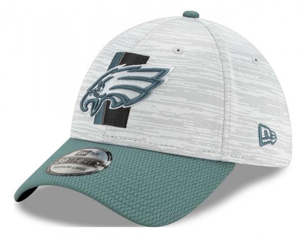 New Era - NFL Philadelphia Eagles 20212 Training 39Thirty Stretch Cap - Grau-Grün Ansicht vorne schräg links