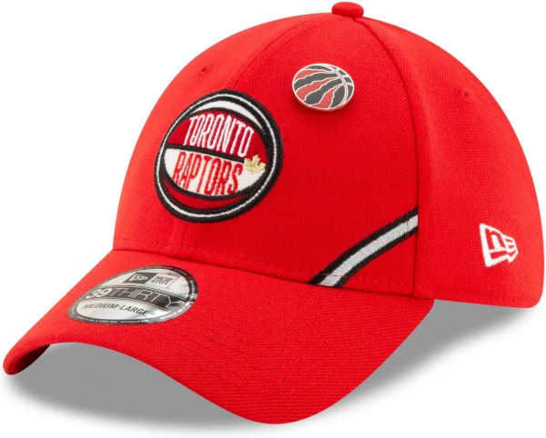 New Era - NBA Toronto Raptors 2019 Draft 39Thirty Stretch Cap - Rot Ansicht vorne schräg links