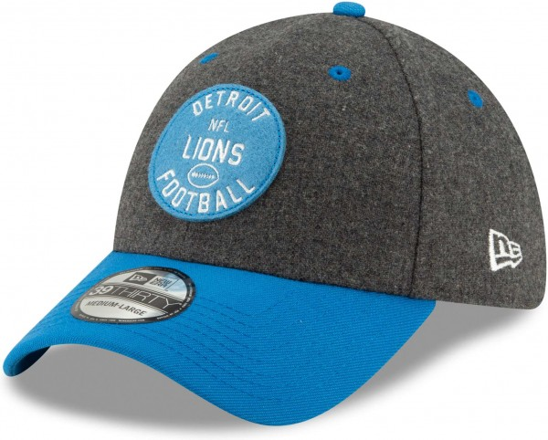 New Era - NFL Detroit Lions On Field 2019 Sideline Home 39Thirty Stretch Cap - Grau Ansicht schräg links