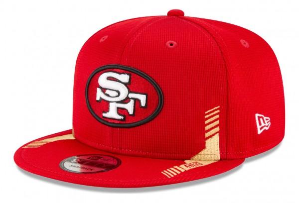New Era - NFL San Francisco 49ers 2021 Sideline Home 9Fifty Snapback Cap - Rot Ansicht vorne schräg links