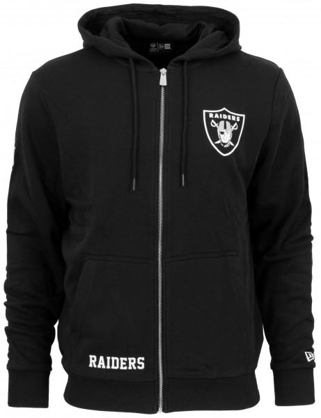 New Era - NFL Oakland Raiders Team Logo Full Zip Hoodie - Schwarz Vorderansicht