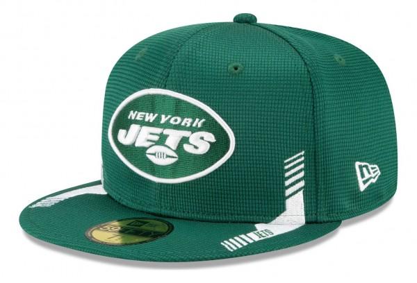 New Era - NFL New York Jets 2021 Sideline Home 59Fifty Fitted Cap - Grün Ansicht vorne schräg links