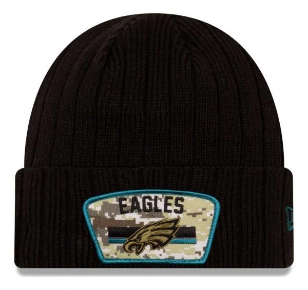 New Era - NFL Philadelphia Eagles 2021 Salute To Service Knit Beanie - Schwarz Vorderansicht