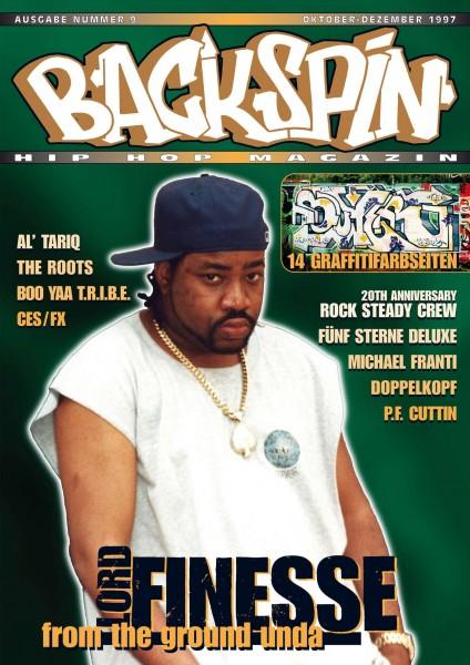 Auf dem Bild ist das Cover zu sehen der BACKSPIN Printausgabe Nummer 9