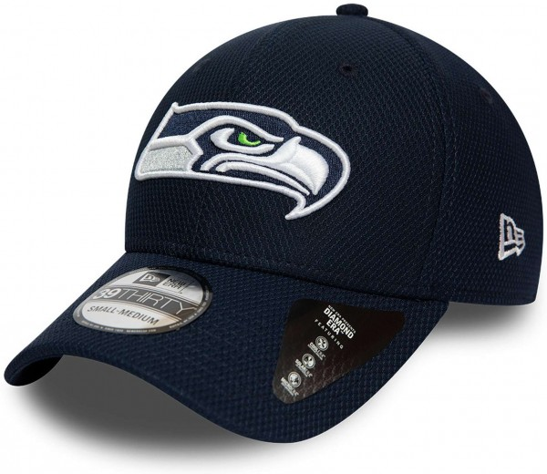 New Era - NFL Seattle Seahawks Team 39Thirty Stretch Cap - Blau Ansicht vorne schräg links
