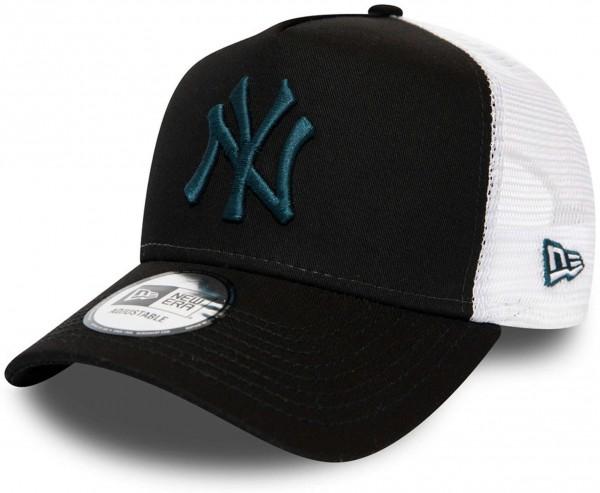 New Era - MLB New York Yankees Essential A-Frame Trucker Snapback Cap - Schwarz Ansicht vorne links