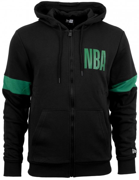 New Era - NBA Boston Celtics Full Zip Hoodie - Schwarz Vorderansicht