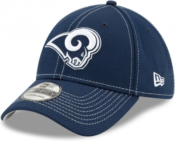 New Era - NFL Los Angeles Rams On Field 2019 Sideline Road 39Thirty Stretch Cap - Blau Ansicht schräg links