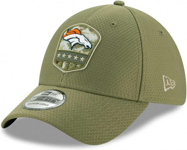 New Era - NFL Denver Broncos On Field 2019 Salute to Service 39Thirty Stretch Cap - Olivgrün Ansicht schräg vorne links