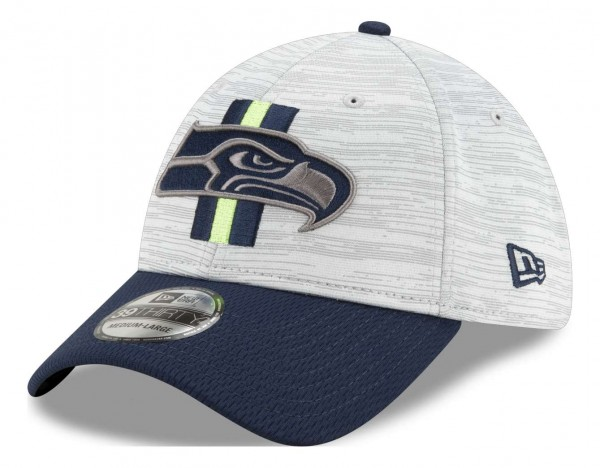 New Era - NFL Seattle Seahawks 20212 Training 39Thirty Stretch Cap - Grau-Blau Ansicht vorne schräg links