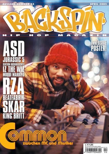 Auf dem Bild ist das Cover zu sehen der BACKSPIN Printausgabe Nummer 44