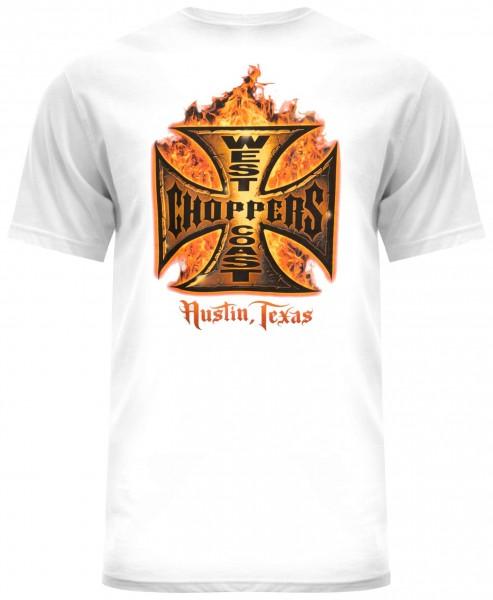 West Coast Choppers - WCC In Flames T-Shirt - Weiß Rückansicht