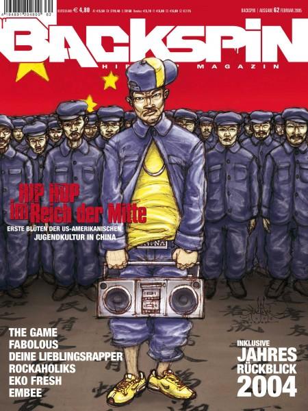 Auf dem Bild ist das Cover zu sehen der BACKSPIN Printausgabe Nummer 62