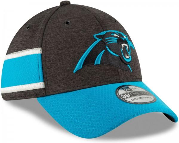 New Era - NFL Carolina Panthers 2018 Sideline Home 39Thirty Stretch Cap - Grau schräg vorne rechts