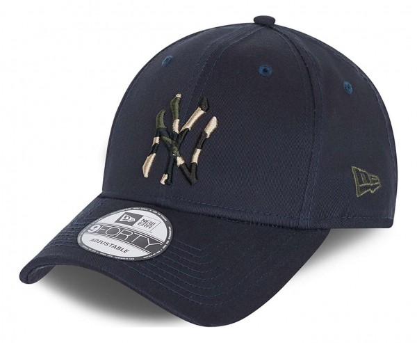 New Era - MLB New York Yankees Camo Infill 9Forty Strapback Cap - Blau Ansicht vorne schräg links