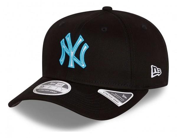 New Era - MLB New York Yankees Neon Pop Outline 9Fifty Stretch Snapback Cap - Schwarz Ansicht vorne schräg links