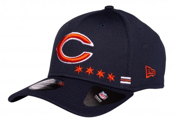 New Era - NFL Chicago Bears OnField 2020 Sideline Home 39Thirty Stretch Cap - Blau Ansicht vorne schräg links