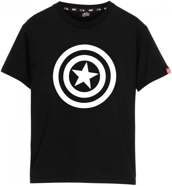 Left Side - Marvel Captain America Logo T-Shirt - Schwarz Frontansicht
