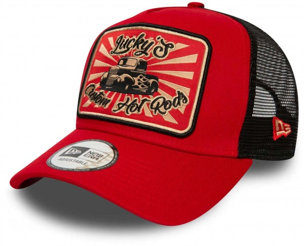 New Era - Hot Rod Trucker Pack Snapback Cap - Rot-Schwarz Ansicht vorne schräg links