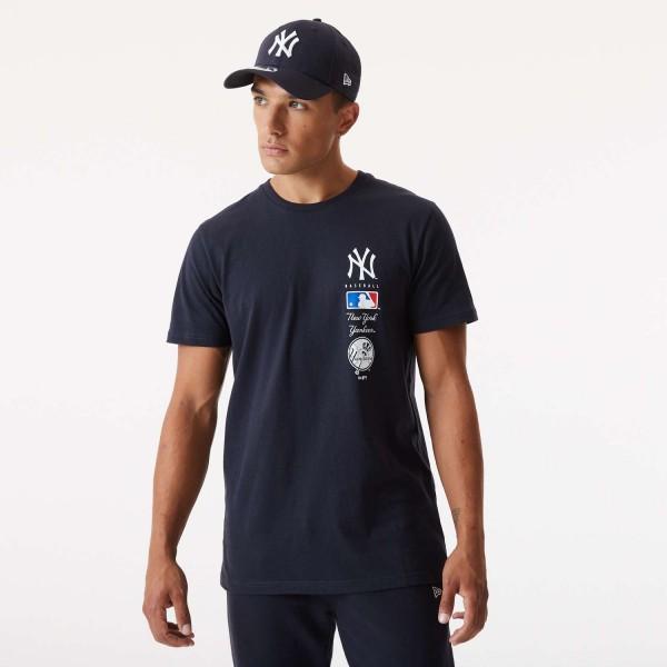 New Era - MLB New York Yankees Stack Logo T-Shirt - Blau Vorderansicht
