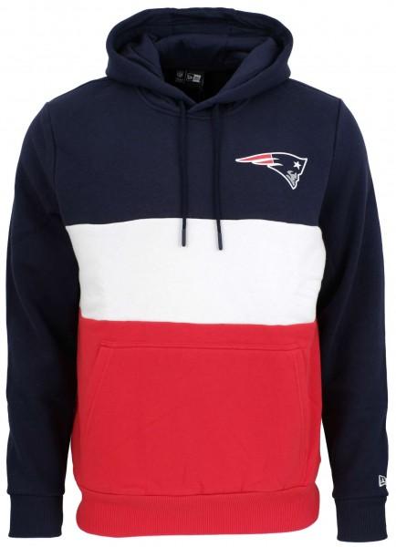 New Era - NFL New England Patriots Colour Block Hoodie - Rot-Weiß-Blau Vorderansicht