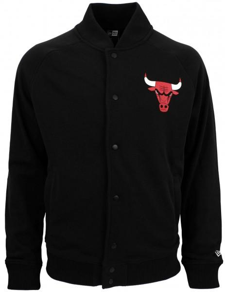 New Era - NBA Chicago Bulls Core Jersey Varsity Jacke - Schwarz Ansicht vorderseite