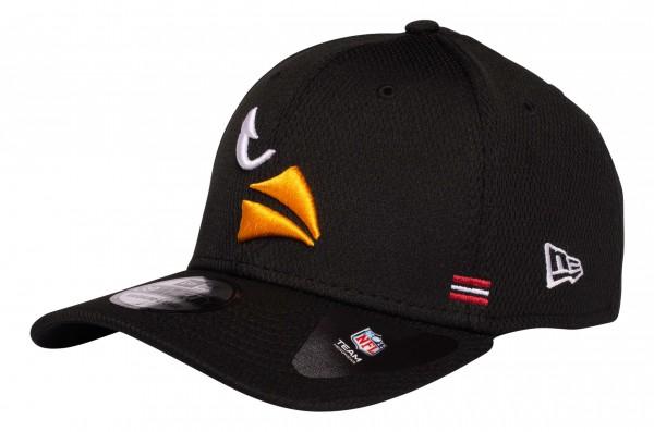 New Era - NFL Arizona Cardinals OnField 2020 Sideline Home 39Thirty Stretch Cap - Schwarz Ansicht vorne schräg links