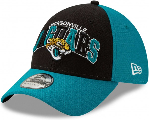 New Era - NFL Jacksonville Jaguars On Field 2019 Sideline Home 39Thirty Stretch Cap - Mehrfarbig Ansicht schräg links