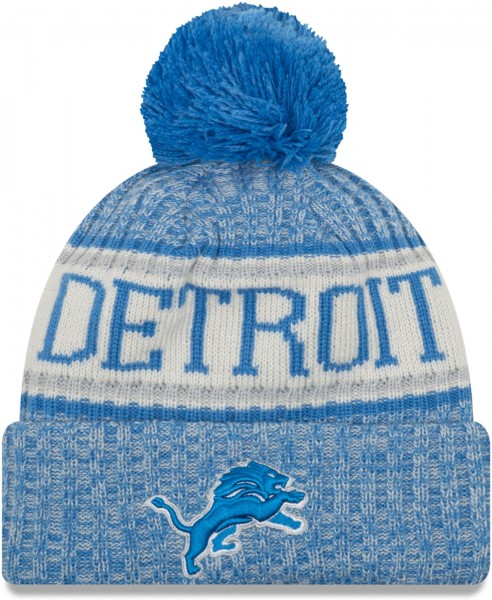 New Era - Detroit Lions On Field Sport 2018 Knit Bobble Beanie Ansicht Vorderseite