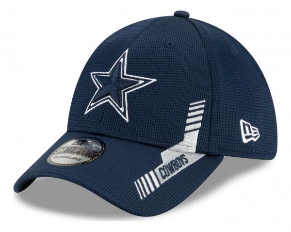 New Era - NFL Dallas Cowboys 2021 Sideline Home 39Thirty Stretch Cap - Blau Ansicht vorne schräg links