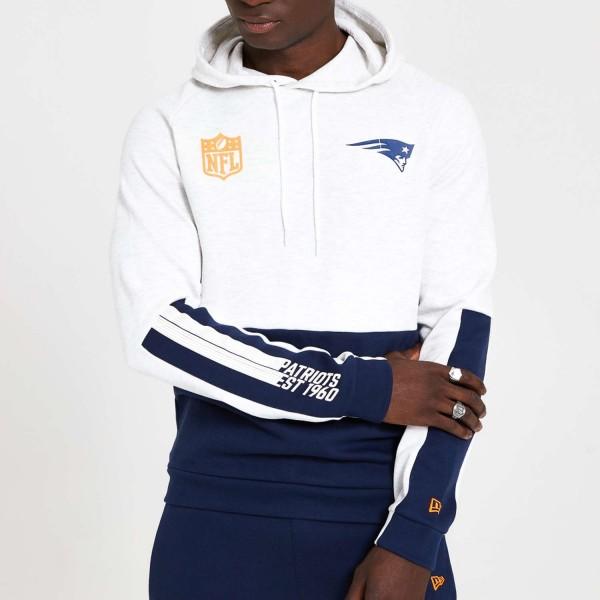 New Era - NFL New England Patriots Colour Block Hoodie - Weiß Vorderansicht