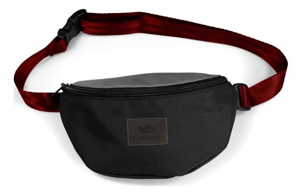 Freibeutler - Hip Bag Red Strap Tasche - Schwarz Vorderansicht