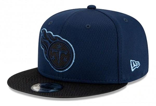 New Era - NFL Tennessee Titans 2021 Sideline Road 9Fifty Snapback Cap - Blau Ansicht vorne schräg links