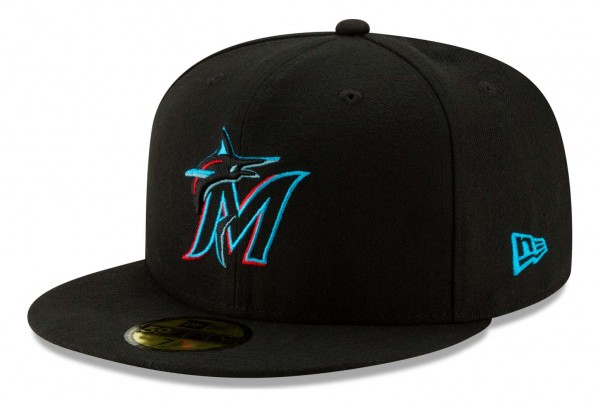 New Era - MLB Miami Marlins Authentic Collection Fitted Cap - Schwarz Ansicht vorne schräg links