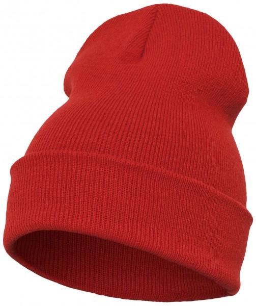 Yupoong - Heavyweight Knit Cuffed Long Beanie - Rot Schrägansicht Vorderseite