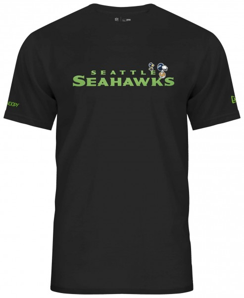 New Era - Peanuts x NFL Seattle Seahawks Snoopy Woodstock T-Shirt - Schwarz Vorderansicht