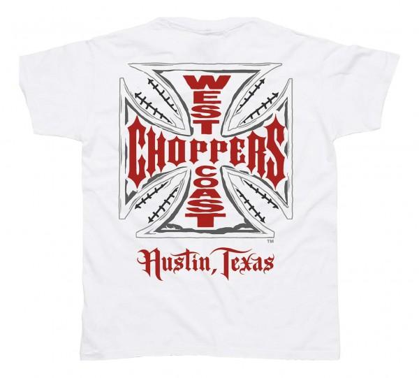 West Coast Chopppers - WCC OG Cross Austin/Texas T-Shirt - Weiß Rückansicht