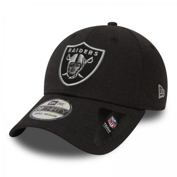 New Era - NFL Oakland Raiders Heather Essential 39Thirty Stretch Cap - Schwarz Ansicht schräg vorne
