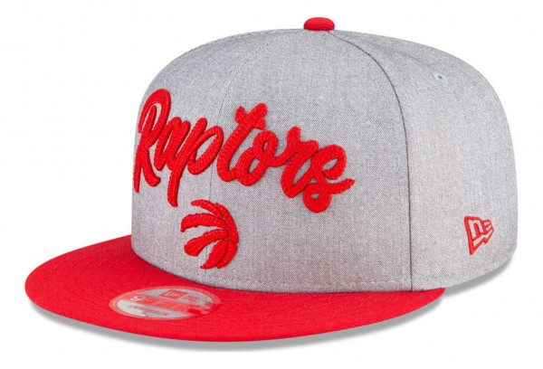 New Era - NBA Toronto Raptors 2020 Draft Edition 9Fifty Snapback Cap - Grau-Rot Ansicht vorne schräg links