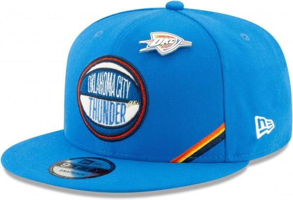 New Era - NBA Oklahoma City Thunder 2019 Draft 9Fifty Snapback Cap - Blau Ansicht vorne schräg links